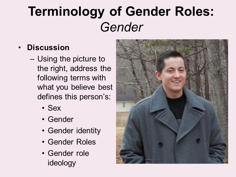 Terminology of Gender Roles: Gender Discussion –Using the picture to the right, address the following terms with what you believe best defines this pe