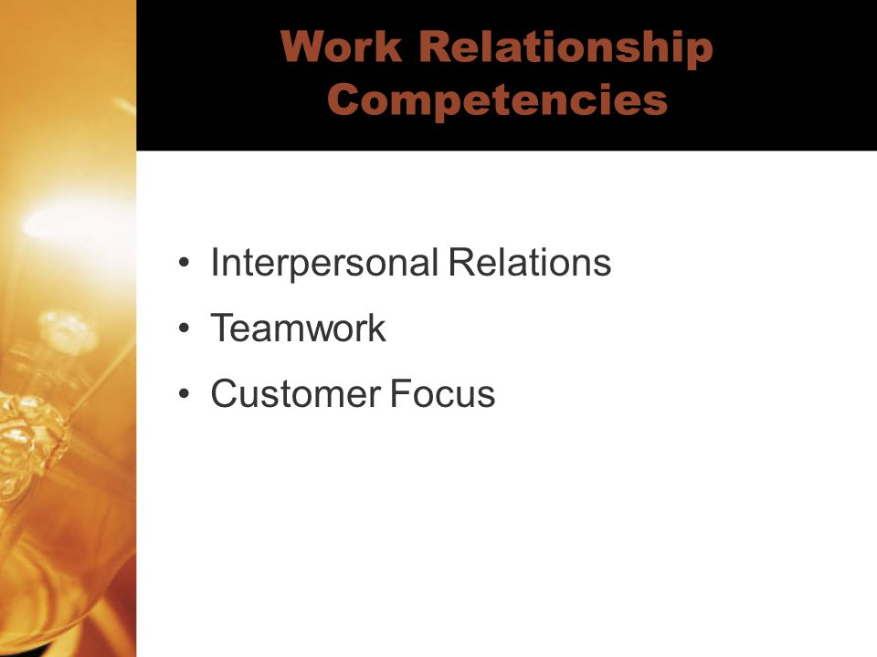 Work Relationship Competencies Interpersonal Relations Teamwork Customer Focus