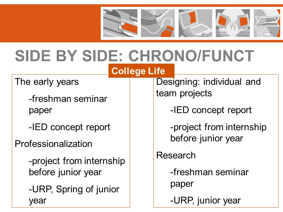 SIDE BY SIDE: CHRONO/FUNCT The early years -freshman seminar paper -IED concept report Professionalization -project from internship before junior year