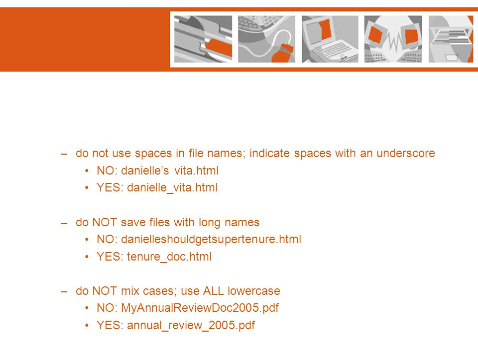–do not use spaces in file names; indicate spaces with an underscore NO: danielle's vita.html YES: danielle_vita.html –do NOT save files with long nam