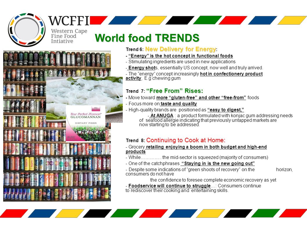 World food TRENDS New Delivery for Energy Trend 6: New Delivery for Energy : - Energy is the hot concept in functional foods - Stimulating ingredients are used in new applications - Energy shots, essentially US concept, now well and truly arrived.