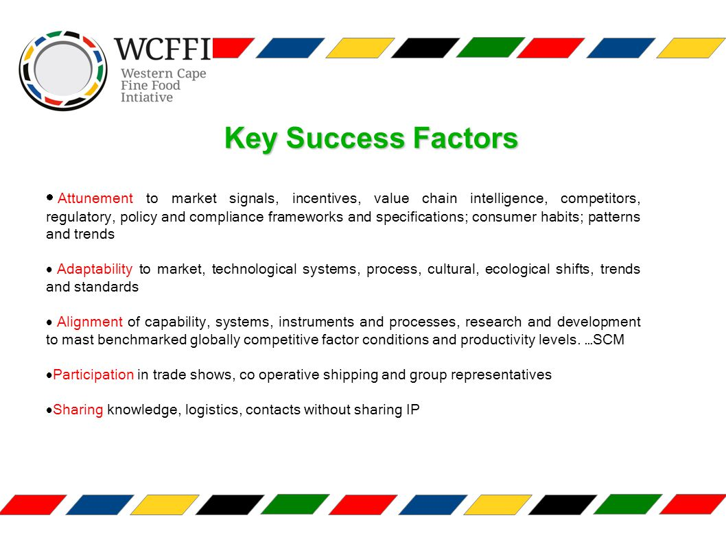 Key Success Factors  Attunement to market signals, incentives, value chain intelligence, competitors, regulatory, policy and compliance frameworks and specifications; consumer habits; patterns and trends  Adaptability to market, technological systems, process, cultural, ecological shifts, trends and standards  Alignment of capability, systems, instruments and processes, research and development to mast benchmarked globally competitive factor conditions and productivity levels.