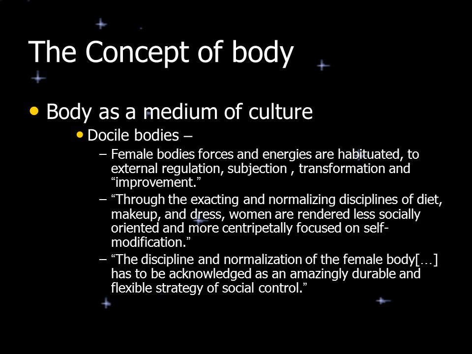 Collusion, Resistance, and the Body Anorexia as a feminine practice Anorexia as a feminine practice –The Anorexic ' s experience of power is illusory Reshaping the body does not mean they are able to gain male power or privilege.