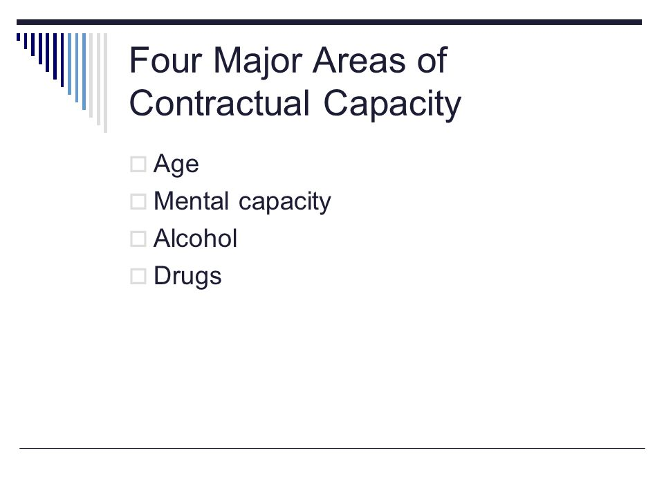 Four Major Areas of Contractual Capacity  Age  Mental capacity  Alcohol  Drugs
