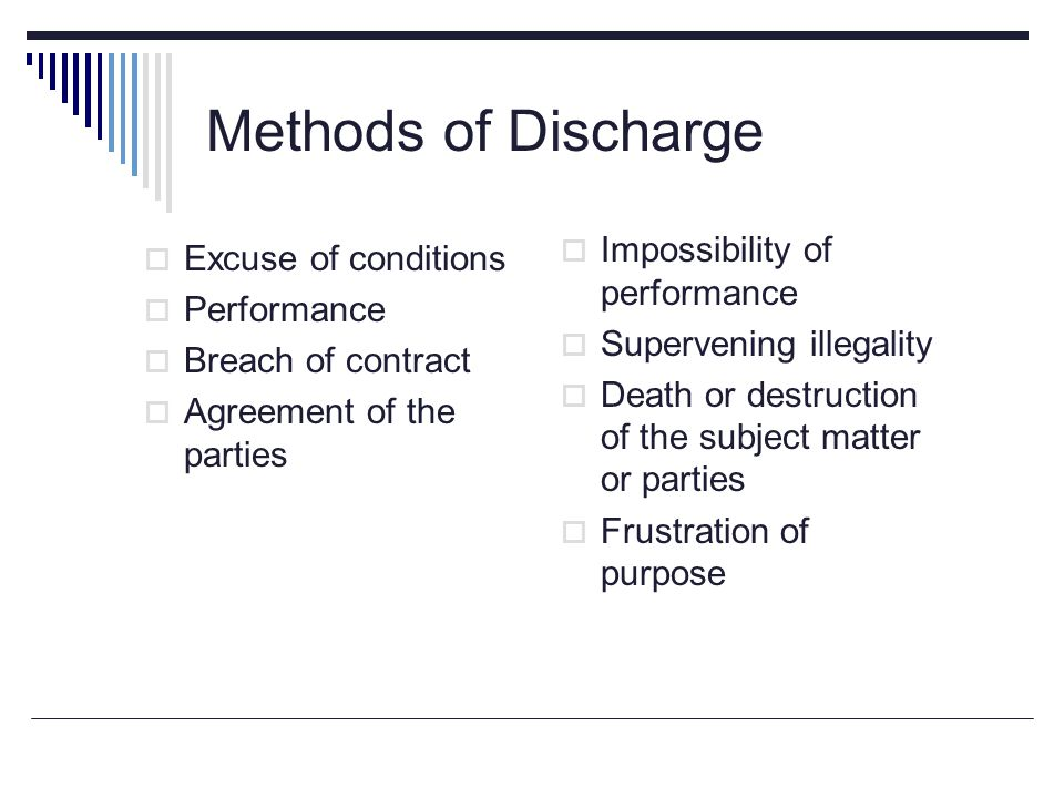 Methods of Discharge  Excuse of conditions  Performance  Breach of contract  Agreement of the parties  Impossibility of performance  Supervening