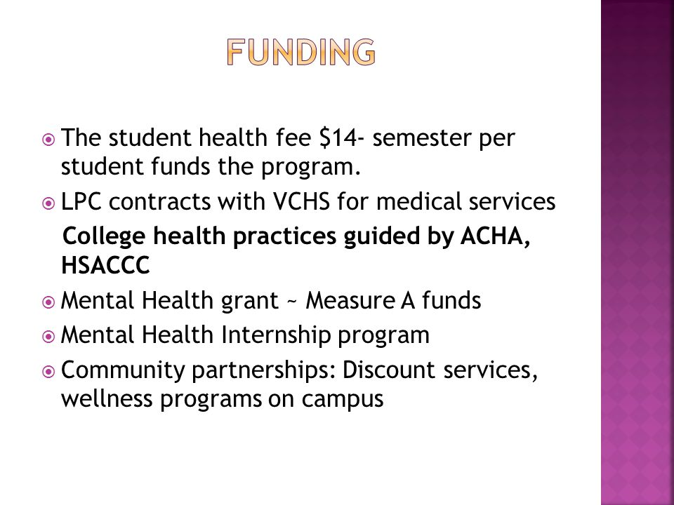  The student health fee $14- semester per student funds the program.