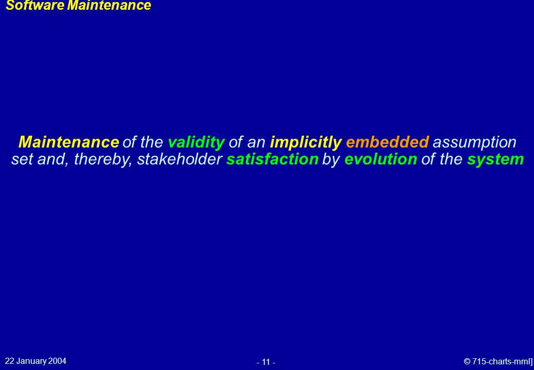 22 January 2004 - 11 - © 715-charts-mml] Software Maintenance Maintenance of the validity of an implicitly embedded assumption set and, thereby, stakeholder satisfaction by evolution of the system