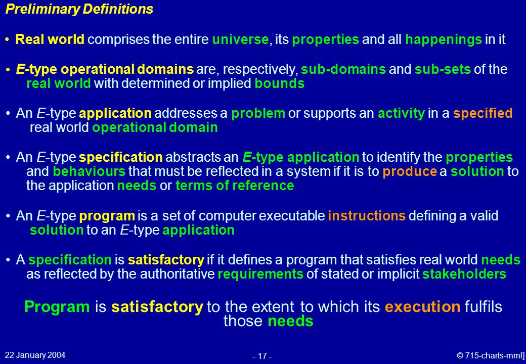 22 January 2004 - 17 - © 715-charts-mml] Preliminary Definitions E-type operational domains are, respectively, sub-domains and sub-sets of the real world with determined or implied bounds An E-type specification abstracts an E-type application to identify the properties and behaviours that must be reflected in a system if it is to produce a solution to the application needs or terms of reference Program is satisfactory to the extent to which its execution fulfils those needs An E-type program is a set of computer executable instructions defining a valid solution to an E-type application Real world comprises the entire universe, its properties and all happenings in it An E-type application addresses a problem or supports an activity in a specified real world operational domain A specification is satisfactory if it defines a program that satisfies real world needs as reflected by the authoritative requirements of stated or implicit stakeholders