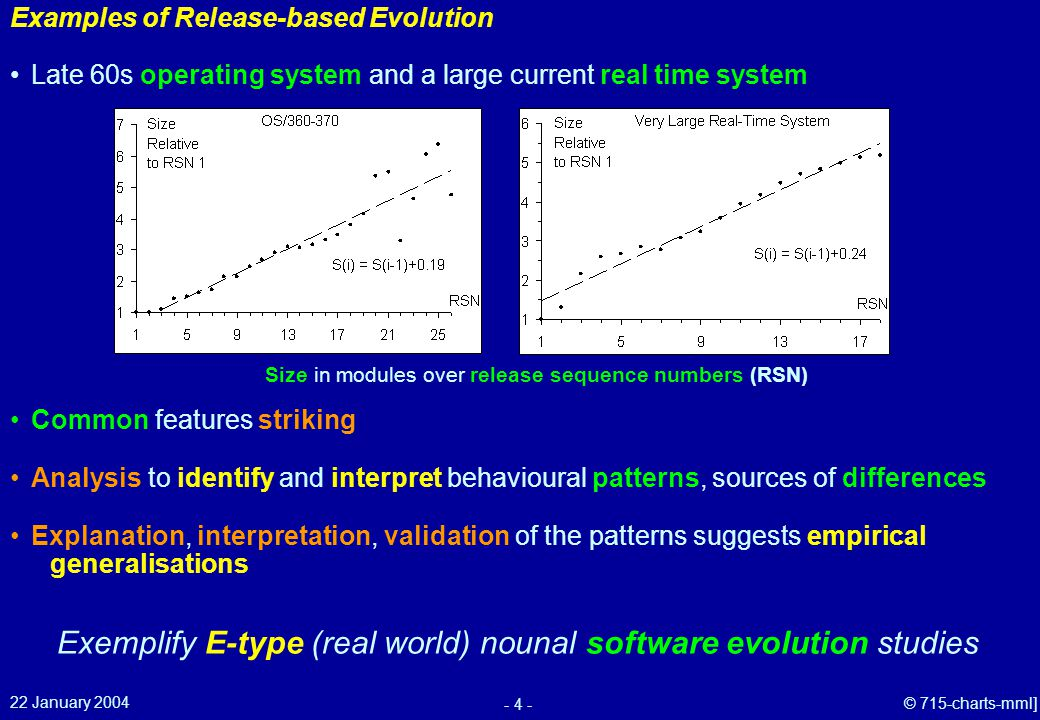 22 January 2004 - 4 - © 715-charts-mml] Examples of Release-based Evolution Explanation, interpretation, validation of the patterns suggests empirical generalisations Common features striking Late 60s operating system Analysis to identify and interpret behavioural patterns, sources of differences Size in modules over release sequence numbers (RSN) and a large current real time system Exemplify E-type (real world) nounal software evolution studies