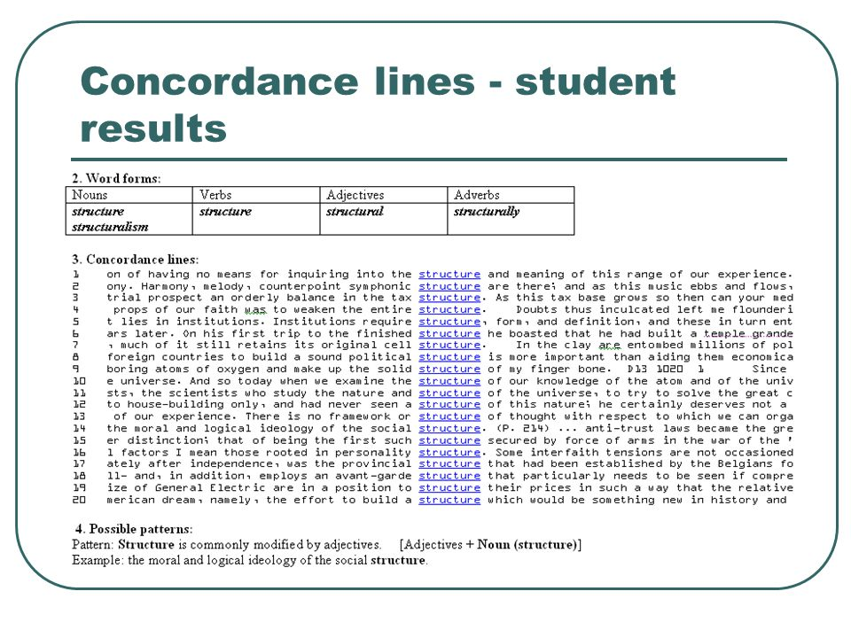 Concordance lines - student results