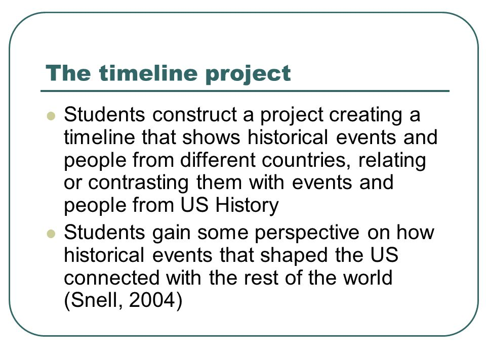 Timeline project – details Semester-long project Requires articles about related topics (narrow reading) The corpus-based activities are part of this project