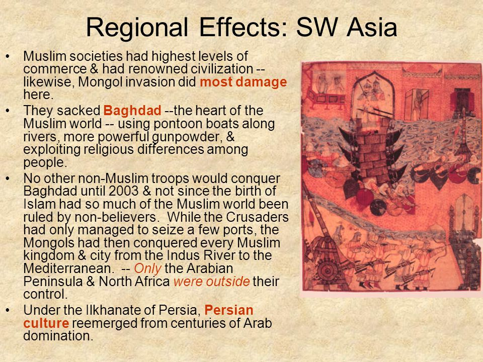 Regional Effects: SW Asia Muslim societies had highest levels of commerce & had renowned civilization -- likewise, Mongol invasion did most damage here.