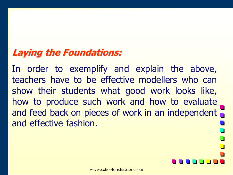Laying the Foundations: In order to exemplify and explain the above, teachers have to be effective modellers who can show their students what good work looks like, how to produce such work and how to evaluate and feed back on pieces of work in an independent and effective fashion.