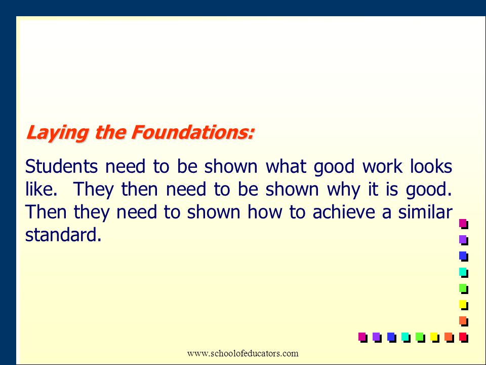Laying the Foundations: Students need to be shown what good work looks like.