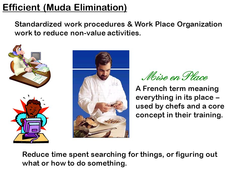 Efficient (Muda Elimination) Standardized work procedures & Work Place Organization work to reduce non-value activities.