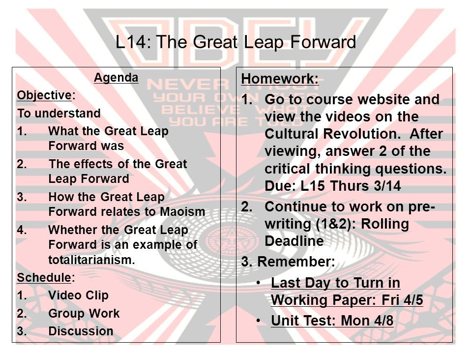 L14: The Great Leap Forward Agenda Objective: To understand 1.What the Great Leap Forward was 2.The effects of the Great Leap Forward 3.How the Great