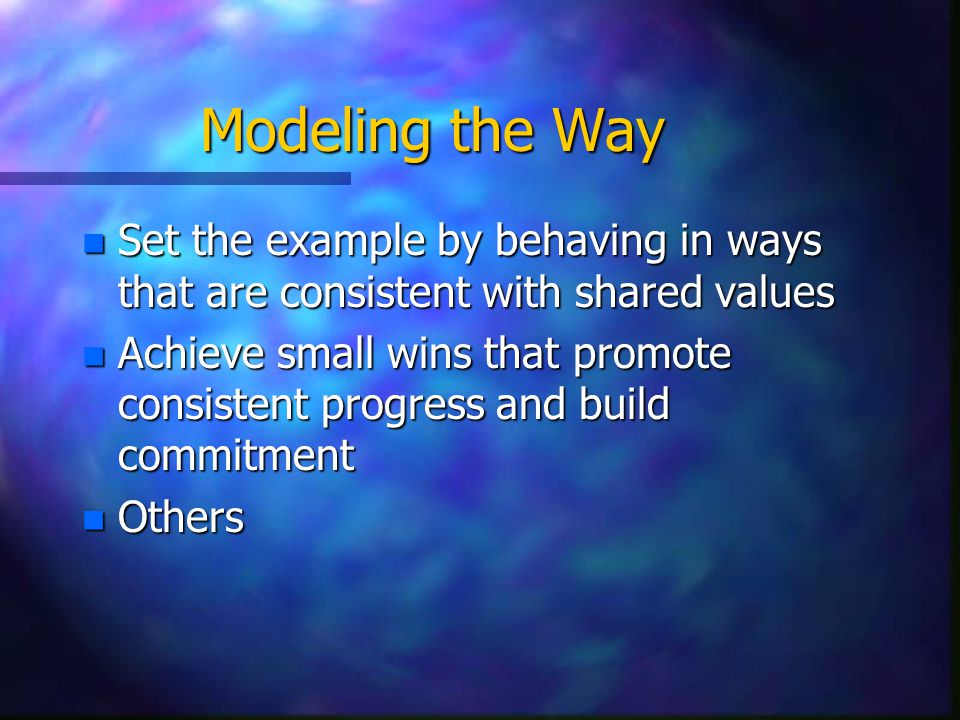 Modeling the Way n Set the example by behaving in ways that are consistent with shared values n Achieve small wins that promote consistent progress and build commitment n Others