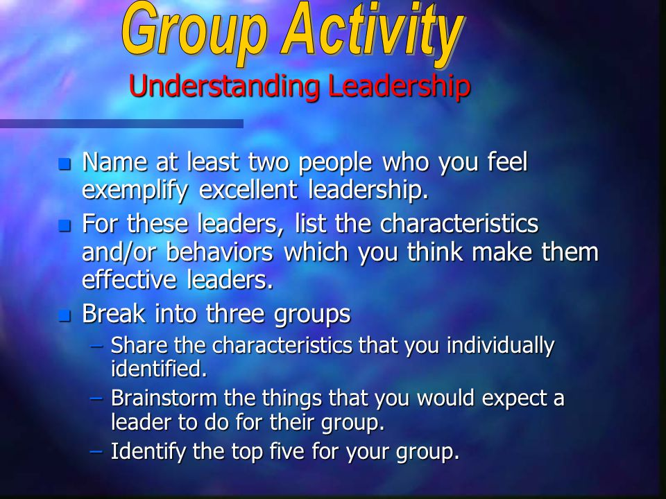 Understanding Leadership n Name at least two people who you feel exemplify excellent leadership.