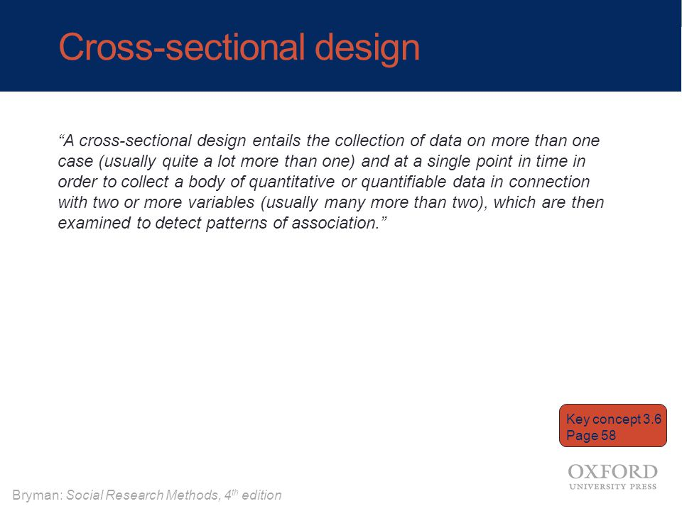 "Bryman: Social Research Methods, 4 th edition Cross-sectional design ""A cross-sectional design entails the collection of data on more than one case (u"