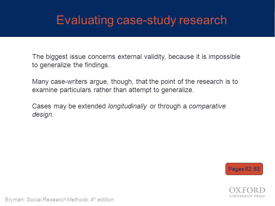 Bryman: Social Research Methods, 4 th edition Evaluating case-study research The biggest issue concerns external validity, because it is impossible to