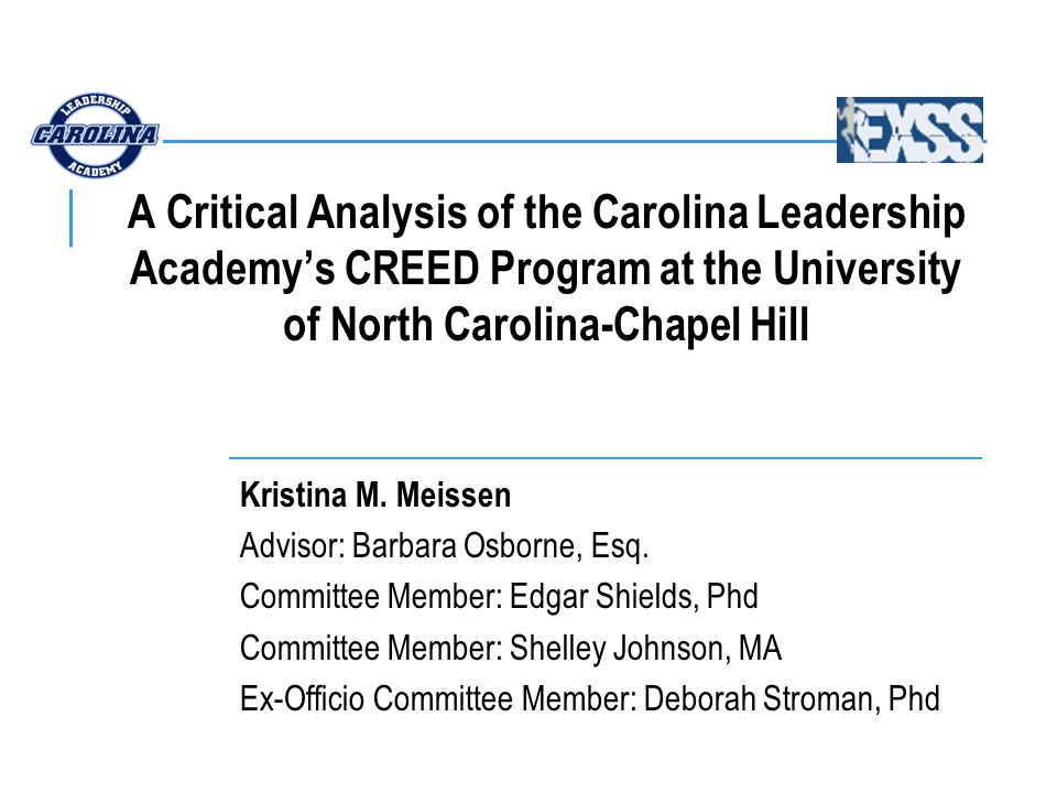 STATEMENT OF PURPOSE To determine if there is a significant relationship between student-athlete gender and the perceived effectiveness of the CREED program to: (4) motivate freshmen student-athletes to become involved in the Rising Stars program (5) motivate freshmen student-athletes to become leaders in organizations outside of athletics (6) enable freshmen student-athletes to learn about and understand the Carolina Culture