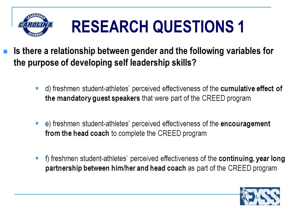 RESEARCH QUESTIONS 1 Is there a relationship between gender and the following variables for the purpose of developing self leadership skills.
