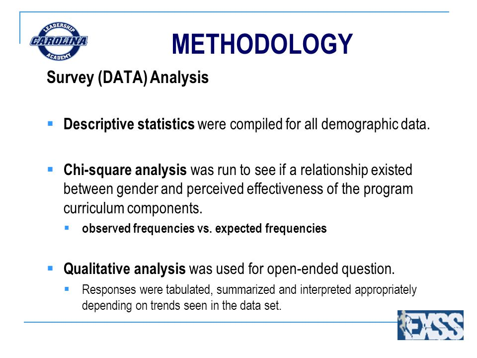 METHODOLOGY Survey (DATA) Analysis  Descriptive statistics were compiled for all demographic data.
