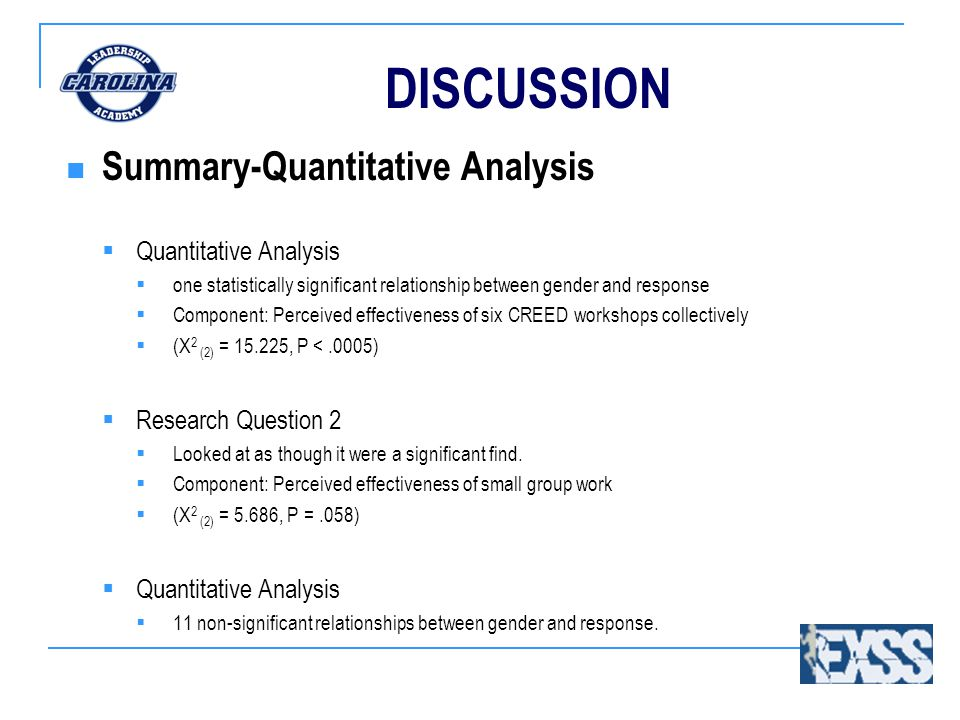 DISCUSSION Summary-Quantitative Analysis  Quantitative Analysis  one statistically significant relationship between gender and response  Component: Perceived effectiveness of six CREED workshops collectively  (X 2 (2) = 15.225, P <.0005)  Research Question 2  Looked at as though it were a significant find.
