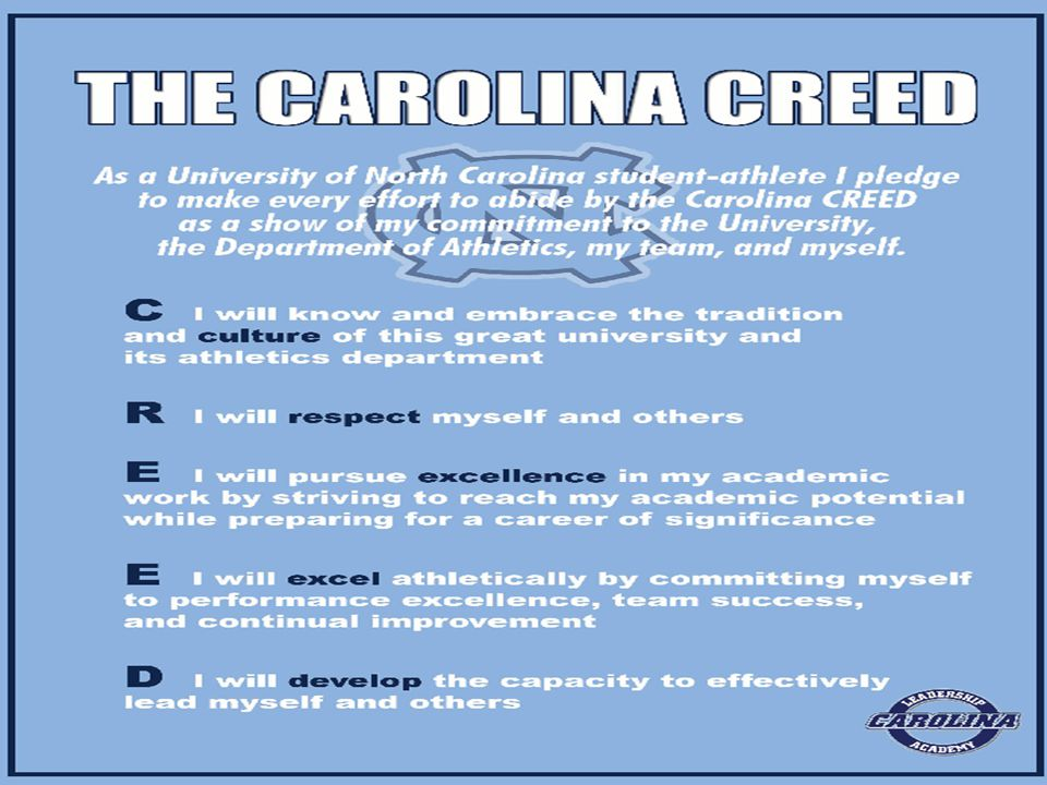 INTRODUCTION Carolina CREED Program Components  Monthly workshops  Keynote speakers  Small group discussion groups  CREED Mentor Program  Upper-class student-athletes serve as peer mentors and discussion leaders  Reinforcement of program curriculum in coaches' training