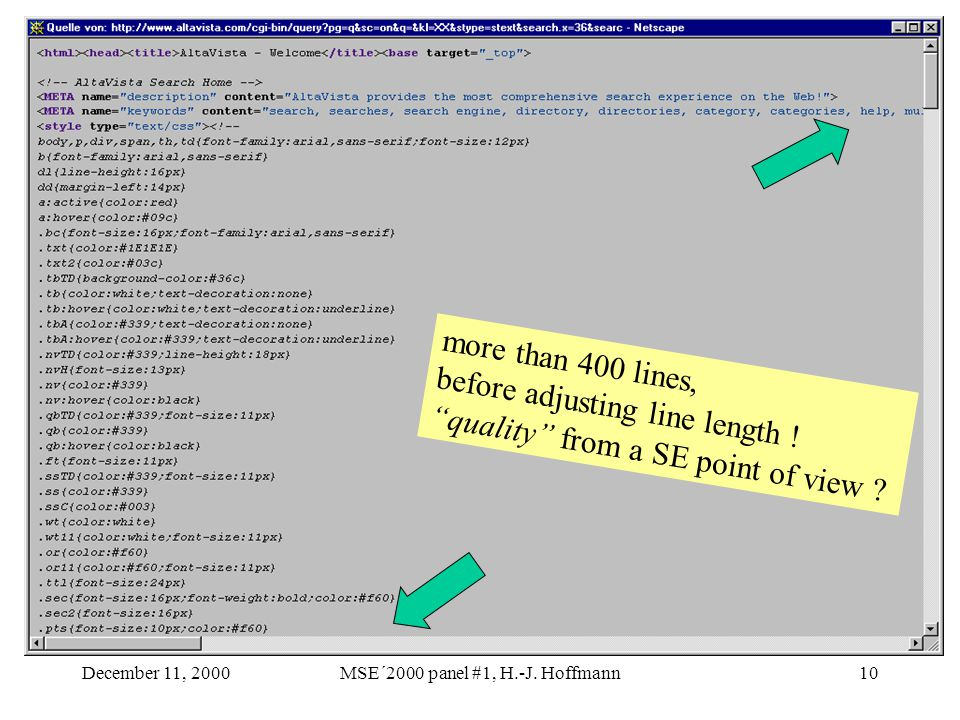 """December 11, 2000MSE´2000 panel #1, H.-J. Hoffmann10 more than 400 lines, before adjusting line length ! """"quality"""" from a SE point of view ?"""