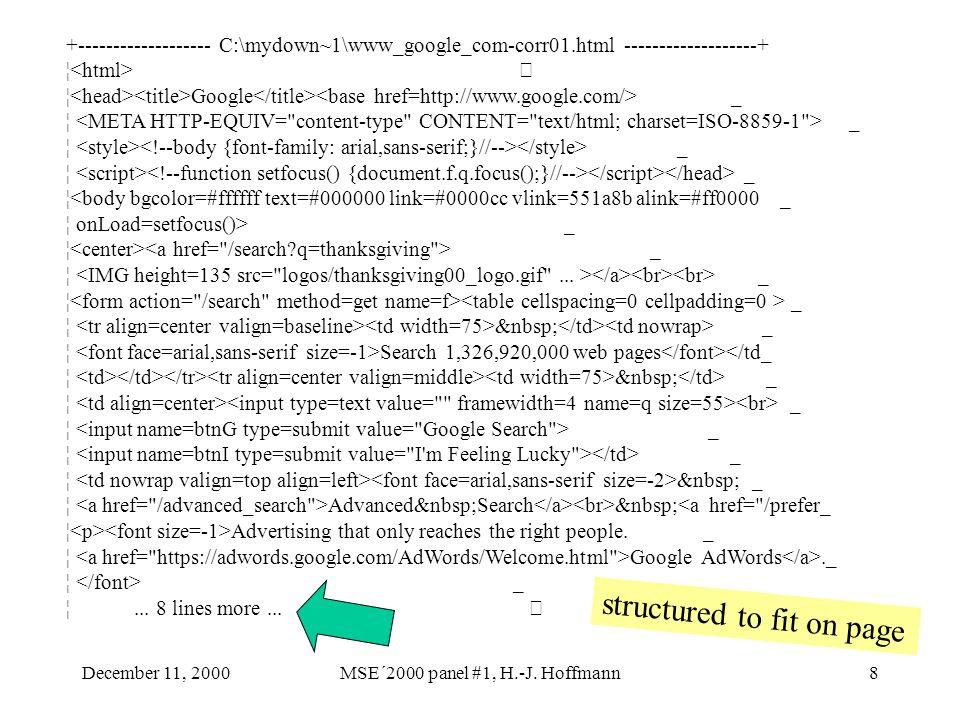 December 11, 2000MSE´2000 panel #1, H.-J. Hoffmann8 +------------------- C:\mydown~1\www_google_com-corr01.html -------------------+ ¦ ¦ Google _ ¦ _