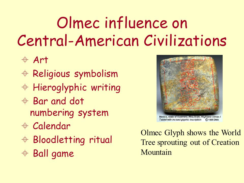 Olmec influence on Central-American Civilizations  Art  Religious symbolism  Hieroglyphic writing  Bar and dot numbering system  Calendar  Blood