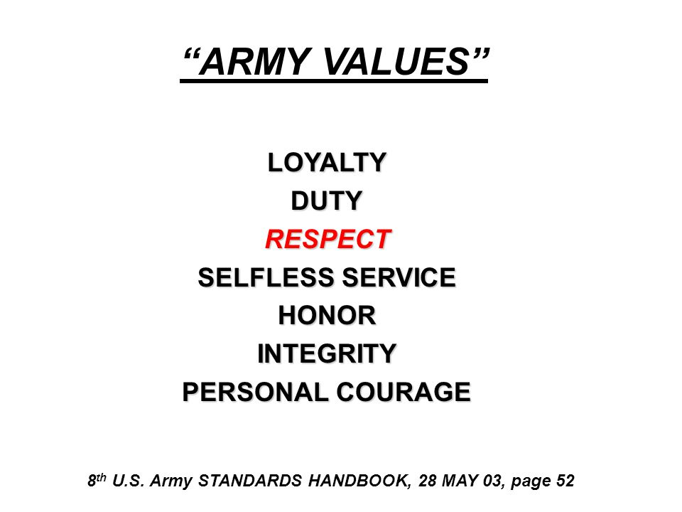 ARMY Policy: AR 600-20   NO Tolerance for Sexual Assault & Rape   Violates the Highest Standards of Professionalism & Discipline- Undermines Combat Readiness   Use Awareness & Education (Prevention) Training   Every Allegation Will Be Promptly & Thoroughly Investigated   Provide Compassionate Care for Victims