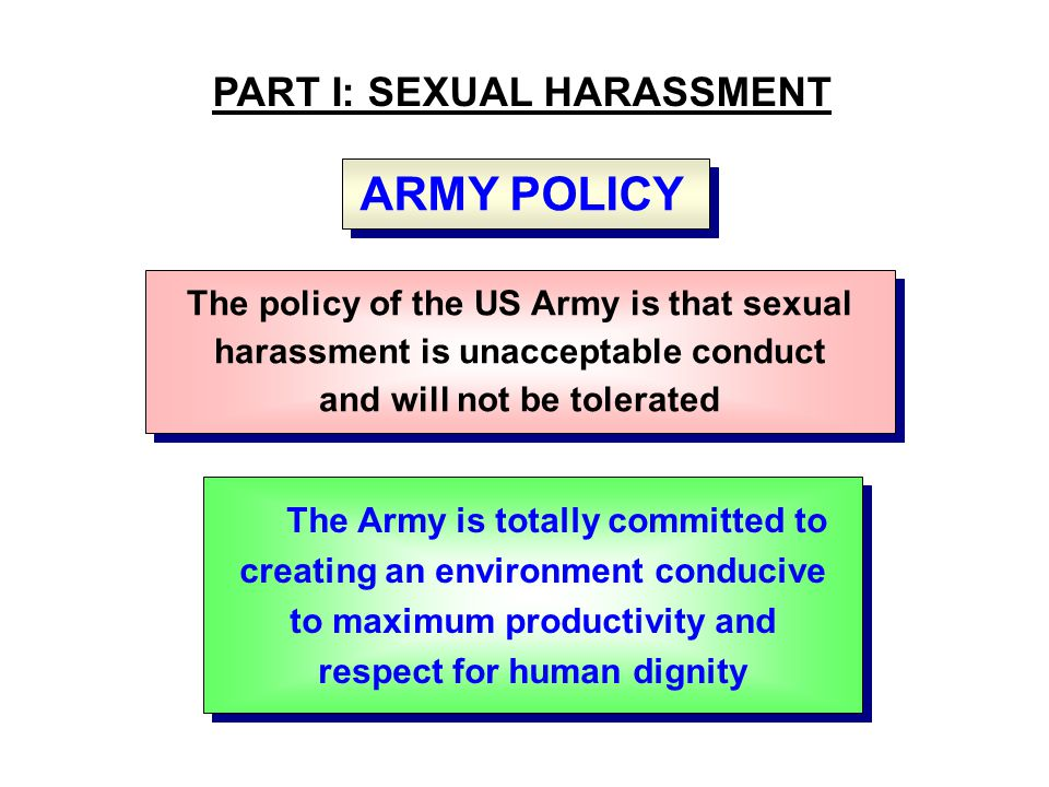 SEXUAL HARASSMENT DEFINITION FOUR TENETS Quid Pro Quo - This for That, - Hostile, Intimidating, or Offensive Environment - Supervisor or Commander Who Uses or Condones Implicit or Explicit Sexual Behavior to Control or Influence - Deliberate or Repeated Unwelcome Comments, Gestures or Physical Contact - Quid Pro Quo - This for That, - Hostile, Intimidating, or Offensive Environment - Supervisor or Commander Who Uses or Condones Implicit or Explicit Sexual Behavior to Control or Influence - Deliberate or Repeated Unwelcome Comments, Gestures or Physical Contact - A form of gender discrimination which involves unwelcome sexual advances, requests for favors, & other verbal or physical conduct of a sexual nature...