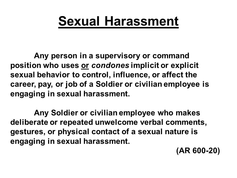 TECHNIQUES TO DEAL WITH SEXUAL HARASSMENT   #1 DIRECT APPROACH   INDIRECT APPROACH   THIRD PARTY   CHAIN OF COMMAND   A LETTER OR MEMORANDUM   ORGANIZATION TRAINING / CLASSES   FILE A FORMAL COMPLAINT
