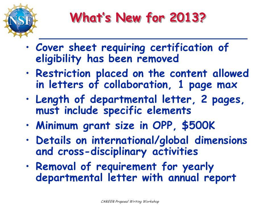 CAREER Proposal Writing Workshop www.nsf.govwww.nsf.gov
