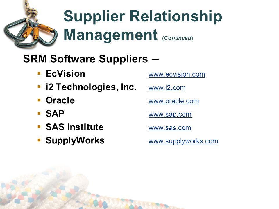 Supplier Relationship Management (Continued) SRM Software Suppliers –  EcVision www.ecvision.com  i2 Technologies, Inc.