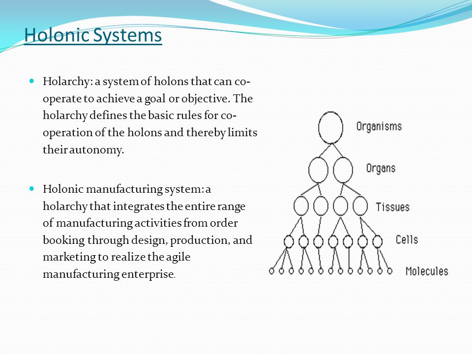 Holonic Systems Holarchy: a system of holons that can co- operate to achieve a goal or objective. The holarchy defines the basic rules for co- operati