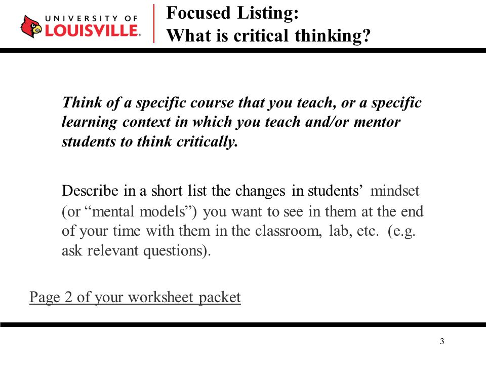 Focused Listing: What is critical thinking.