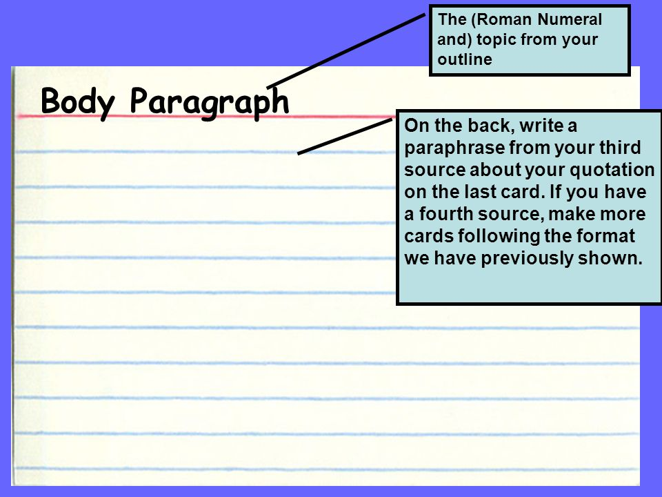 Body Paragraph The (Roman Numeral and) topic from your outline On the back, write a paraphrase from your third source about your quotation on the last card.