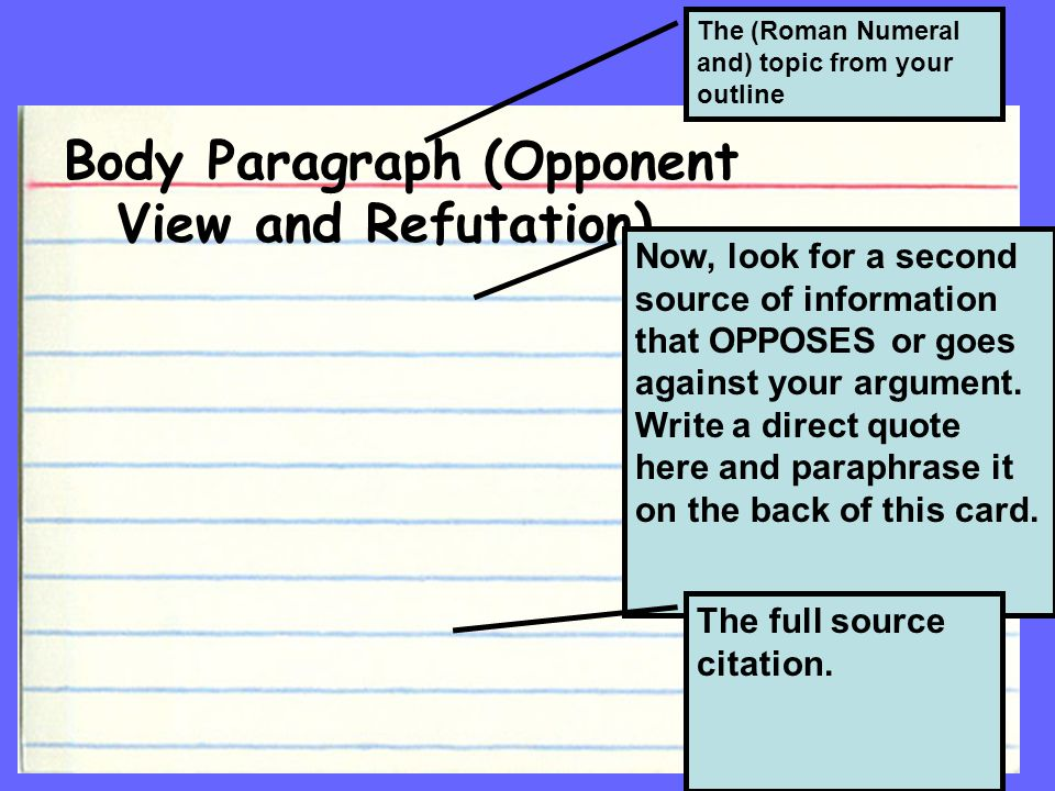 Body Paragraph (Opponent View and Refutation) The (Roman Numeral and) topic from your outline Now, look for a second source of information that OPPOSES or goes against your argument.