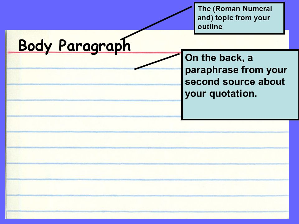 Body Paragraph The (Roman Numeral and) topic from your outline On the back, a paraphrase from your second source about your quotation.