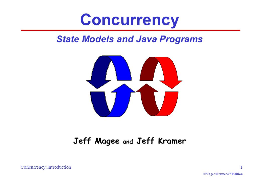 Concurrency: introduction1 ©Magee/Kramer 2 nd Edition Concurrency State Models and Java Programs Jeff Magee and Jeff Kramer
