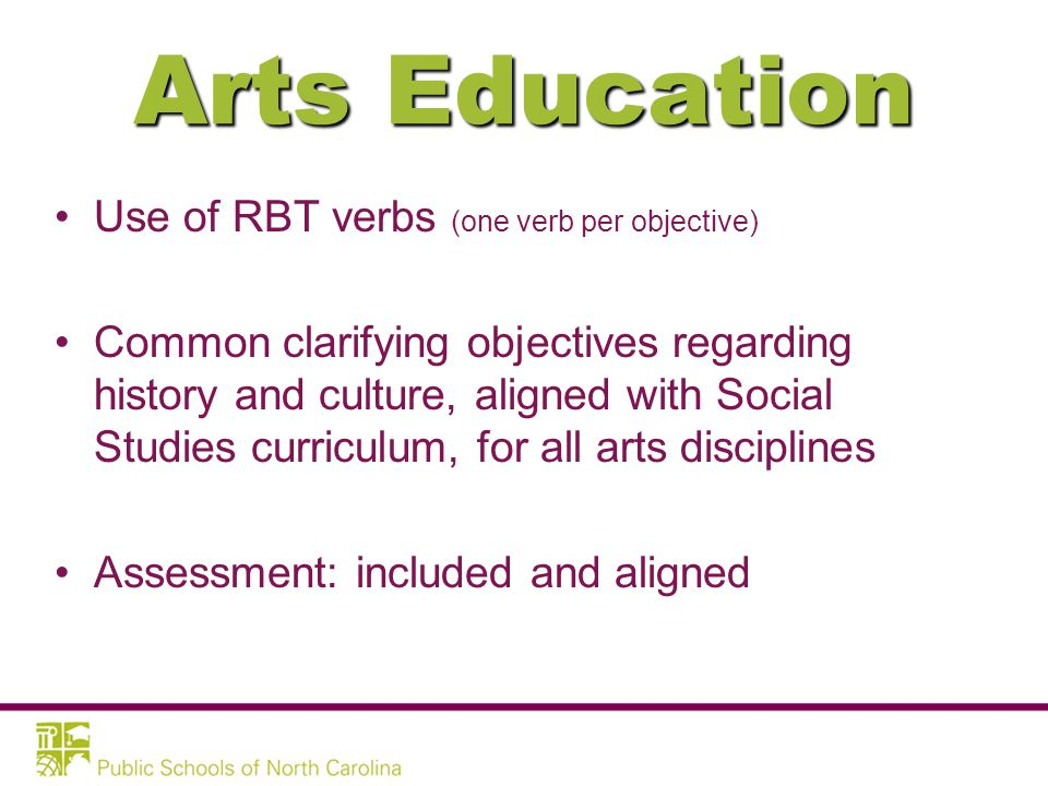 Arts Education Four separate courses of study: –Dance –Music –Theatre Arts –Visual Arts Aligned with National Standards 21 st Century Skills embedded throughout