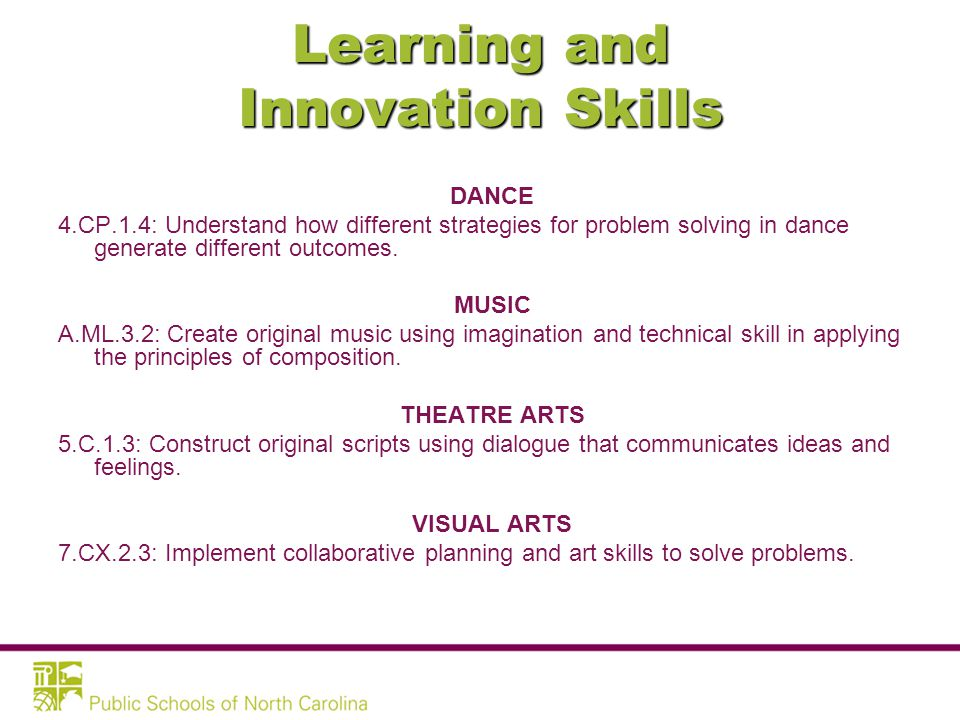 Learning and Innovation Skills –Creativity and Innovation –Critical Thinking and Problem Solving –Communication and Collaboration