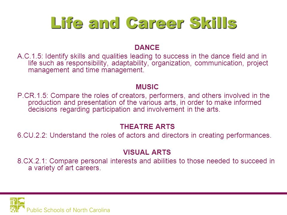Life and Career Skills –Flexibility and Adaptability –Initiative and Self-Direction –Social and Cross-Cultural Skills –Productivity and Accountability –Leadership and Responsibility