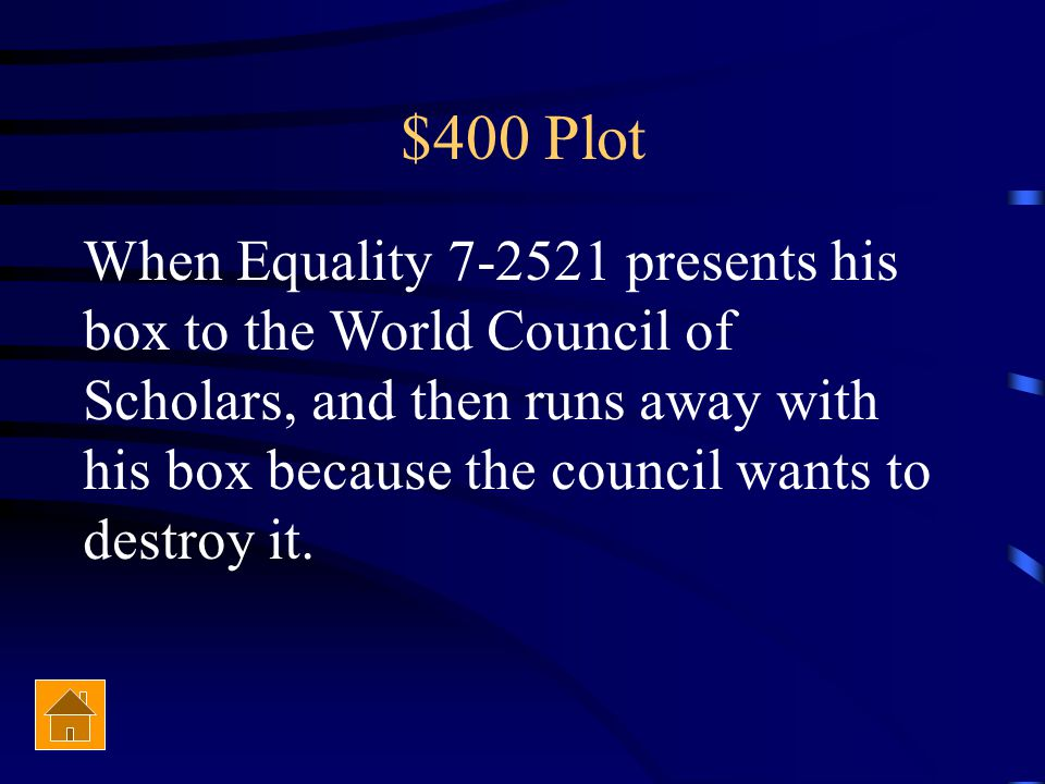$400 Plot The climax of Anthem occurs when…