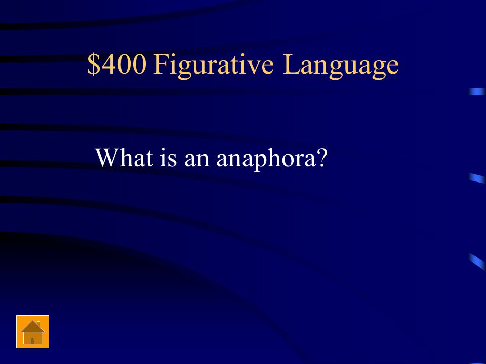 $400 Figurative Language What type of figurative language is contained in the following quote.