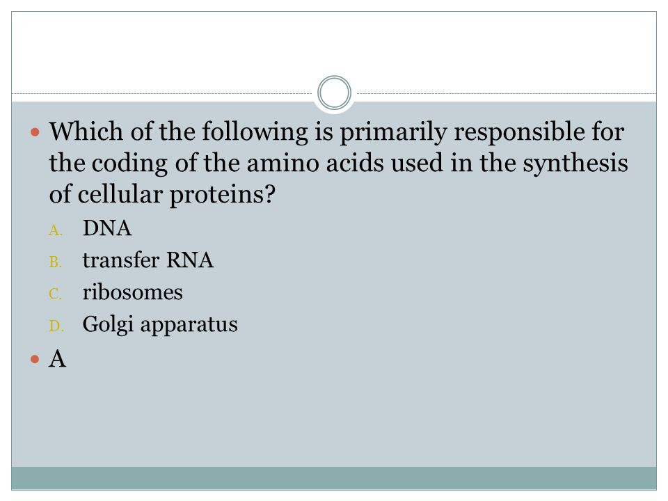 Which of the following is primarily responsible for the coding of the amino acids used in the synthesis of cellular proteins? A. DNA B. transfer RNA C