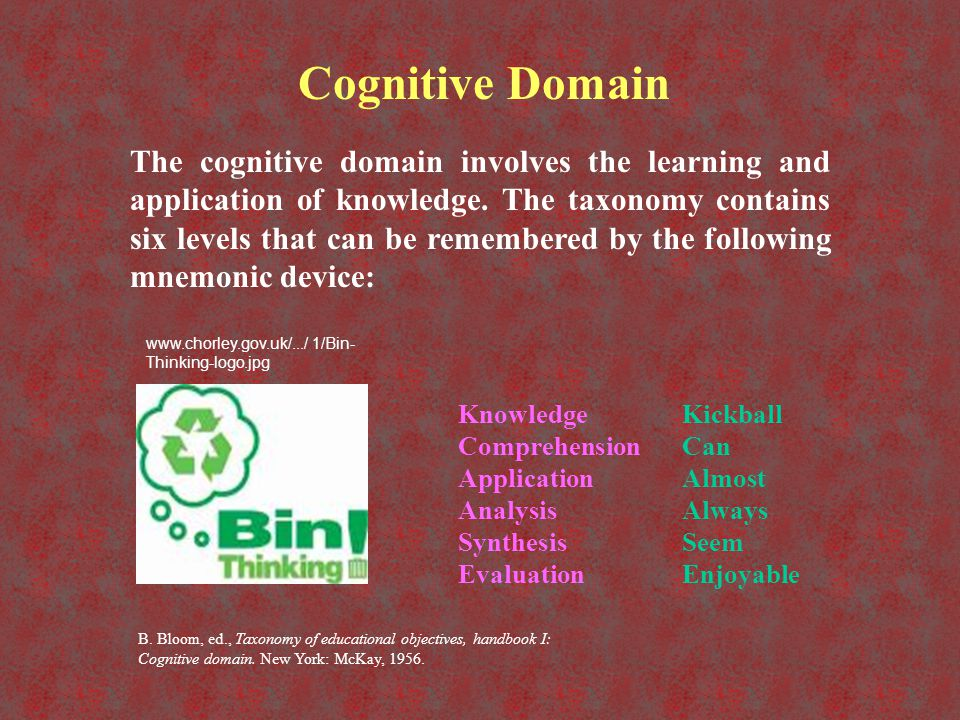 Cognitive Domain Levels LevelDescriptionVerbsObjective KnowledgeTo recall or recognize information in some pre-arranged form.